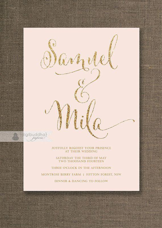 Blush Pink Gold Wedding Invitation Gold Glitter Modern Script Names Classic Glam Printable Digital or Printed - Mila Style