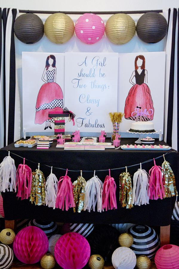 Fashionista Fashion Runway party styled and designed by BellaGrey Designs. Dessert tablescape.