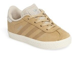 Infant Adidas Gazelle Fashion Sneaker An iconic shoe gets even cooler in soft suede with tonal stripes and a silvery trefoil logo.