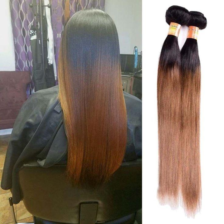 "300g 20"" Real Human Hair Extension 3Bundles 1b/30 Silky Straight Hair Weft Weave #Unbranded #StraightBundle"