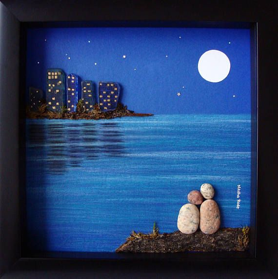 Unique Anniversary Gift for Parents- Pebble and Sea Glass Art- Couples Gift- Unique Anniversary Gifts- Engagement Retirement Birthday Gift