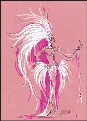 Bob Mackie, pink show girl. For this assignment, can I get away with less literal and more high impact art?