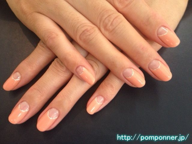 Reverse french manicure in orange with a thin golden rim ♥