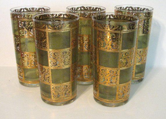 1960s Culver Glass Company Prado pattern.Set of 5 tumblers  22kt. gold paint enamel. Mediterranean style