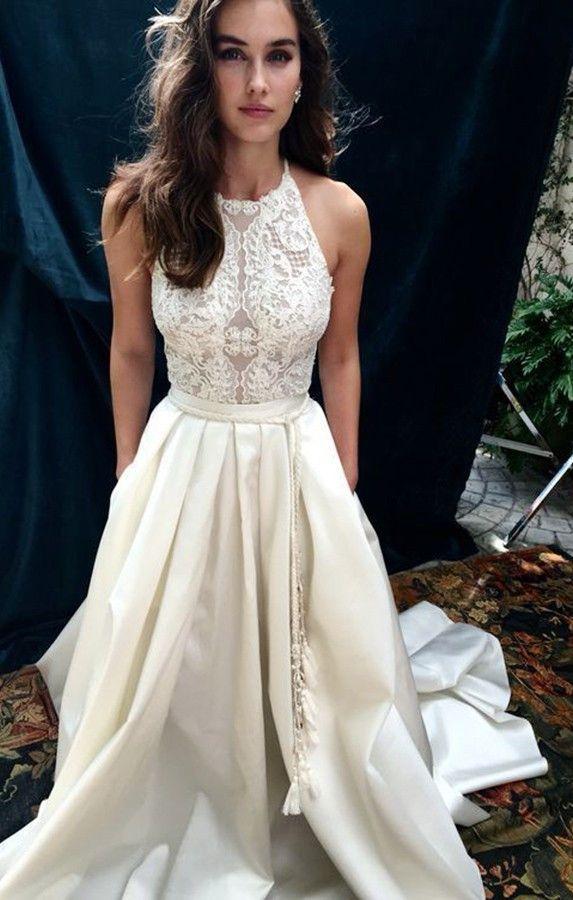 a line wedding dress halter court train sleeveless ivory satin appliques sash