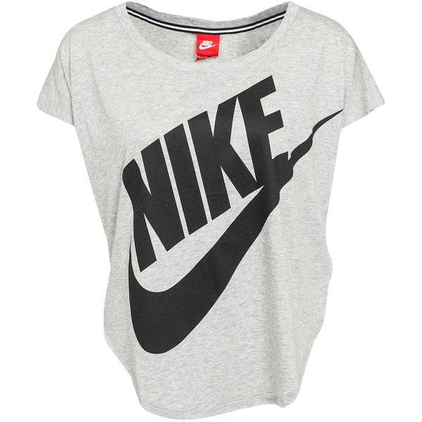Nike Signal Tee ($8.41) ❤ liked on Polyvore featuring tops, t-shirts, shirts, blusas, nike, grey, oversized t shirt, curved hem t shirt, grey shirt and polyester shirt