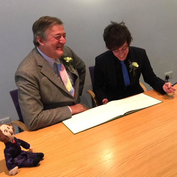 Stephen Fry, 57, Marries Boyfriend Elliott Spencer, 27, Less Than Two Weeks After Getting Engaged  Stephen Fry, Elliott Spencer