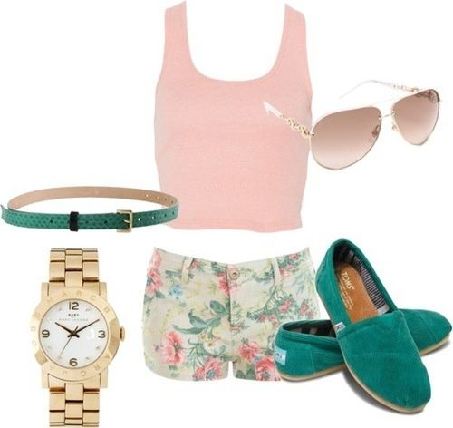 Floral shorts, Pastel top, and green toms <3