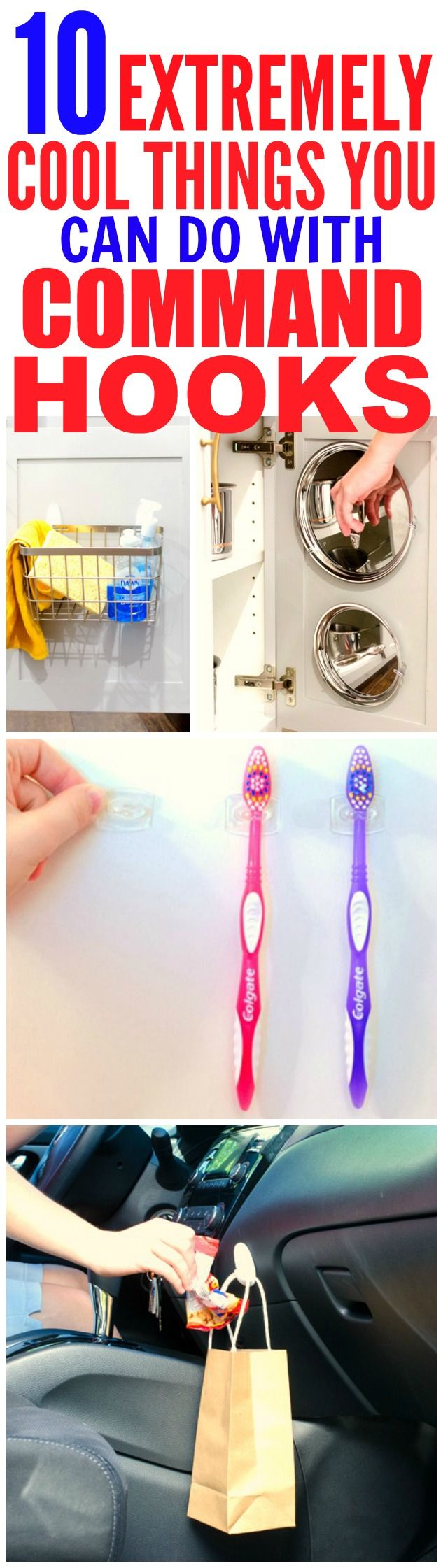 These 10 life changing command hook hacks are THE BEST! I'm so glad I found these GREAT tips! Now I can organize and decorate my home! Definitely pinning for later!