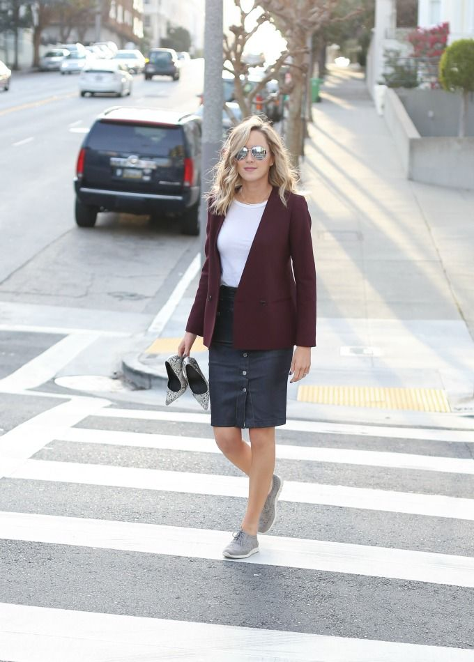 e cole haan zero grand grey sneakers 7 for all mankind coated denim skirt theory burgundy blazer work wear office style fashion blog san francisco