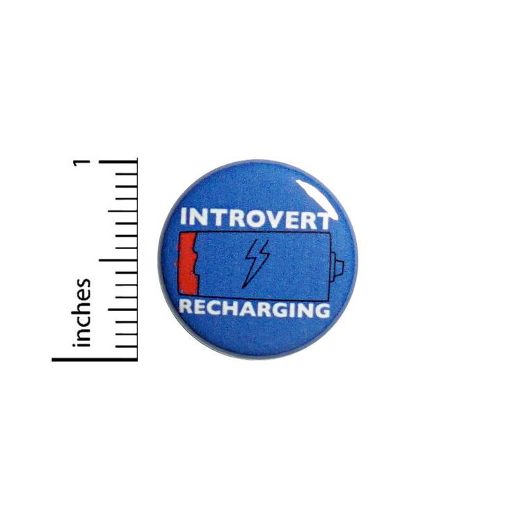"""Funny Button Introvert Recharging Alone Time Badge Backpack Jacket Pin 1"""" #51-29 