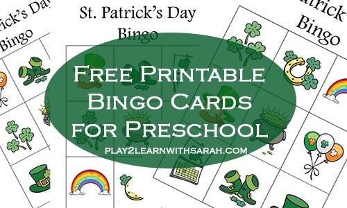 St Patrick's Day Free Printable Bingo Cards | Play 2 Learn with Sarah