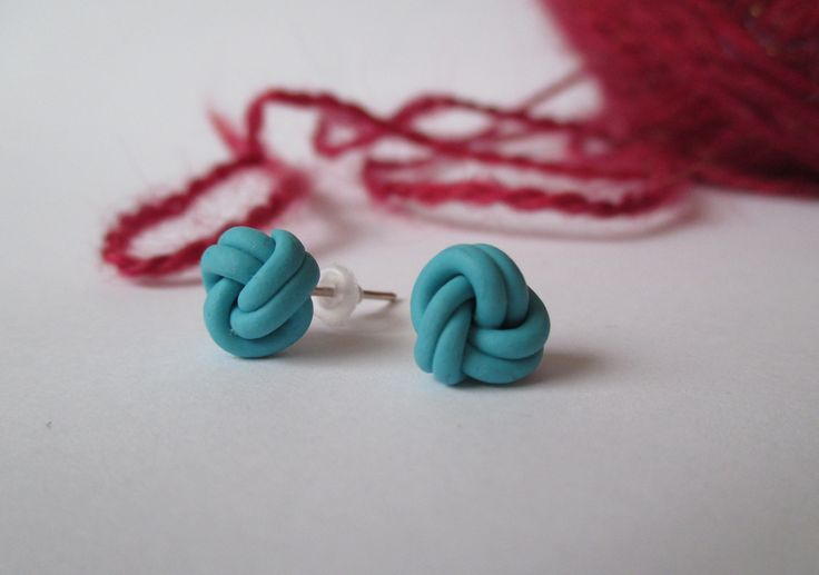 Blue Lovely Knot  Stud Earrings Fimo - Polymer Clay  buy here: https://www.etsy.com/shop/heymate