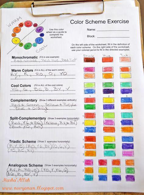 Color Scheme Worksheet My Classroom Pinterest