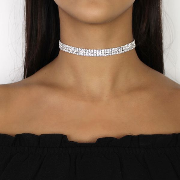 Nikita By Niki silver thick rhinestone statement choker 3 tier necklace with gemstones arrives gift wrapped.