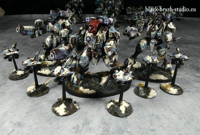 Black Brush Studio - Miniature painting services: Tau Empire: XV95 Ghostkeel Battlesuit  in Winter Camo Scheme