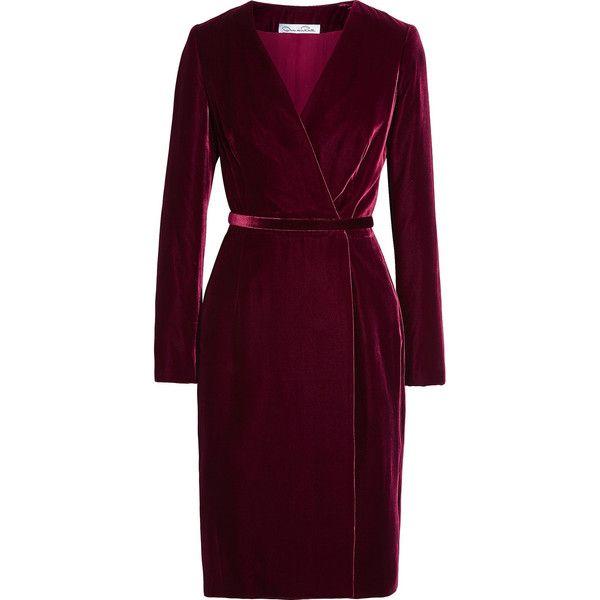 Oscar de la Renta Velvet wrap dress ($1,910) ❤ liked on Polyvore featuring dresses, burgundy, slimming dresses, oscar de la renta dresses, slim fit dress, purple dress and wrap dress
