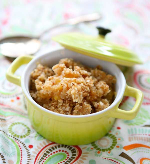 images of peach recipes | Peach and Apricot Almond Crisp by EclecticRecipes.com #recipe