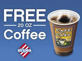 If you live near a Stripes convenience store in Texas, Oklahoma, or New Mexico print and redeem this coupon for a FREE 20 oz Coffee at Stripes stores. Valid 8/20/12 – 8/21/12 only! Locator.