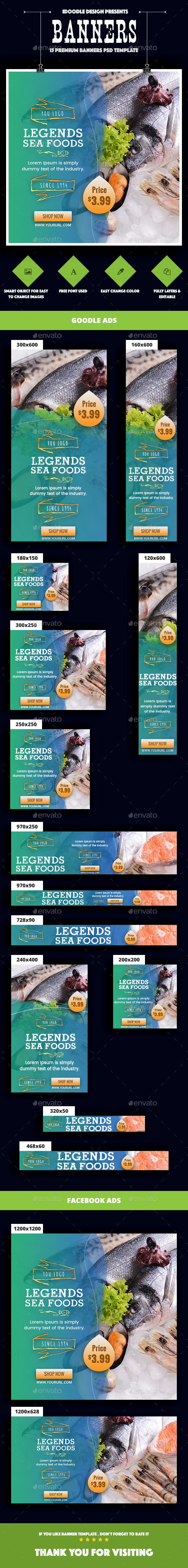 SeaFood Store, Fresh Food Banners Ad — Photoshop PSD #natural food #adwords banners • Available here → https://graphicriver.net/item/seafood-store-fresh-food-banners-ad/20203430?ref=pxcr