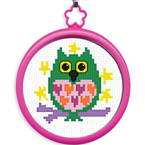 "My First Stitch (Owl) - Learn to cross-stitch! Kit includes everything kids need to create their first cross-stitch: 3""Diam. frame, 14ct. white Aida, cotton floss, needle, instructions and chart. Ages 3+. (Product Number PD45641) $1.99 CAD"