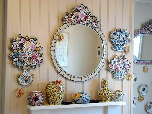 Mosaic mirror, plaques and vases by Anna Tilson