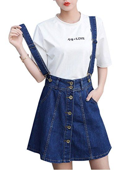 1c1659a4ee Tanming Women s Above Knee Detachable Shoulder Strap Denim Overall Skirt  (X-Small