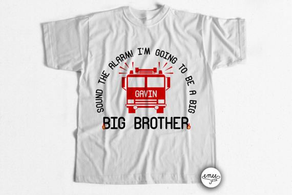 Firetruck Big Brother Shirt Big Brother Announcement Shirt Big Brother T Shirt Firetruck Shirt