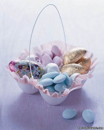 Even leftover egg cartons can become winsome baskets trimmed with pleated crepe skirts. Start with plain or dyed blown-out eggs, and then choose from the sweet embellishments provided here. Soon you and your kids will be turning out colorful crafts by the dozen.