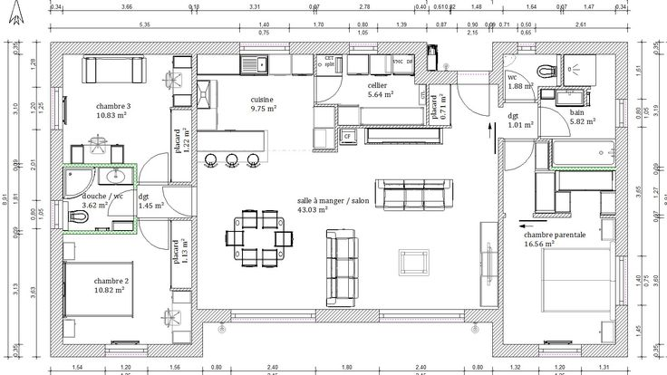 plan maison 4 chambres 130m2 maison de plain pied en 2019 loft plan house plans et house styles. Black Bedroom Furniture Sets. Home Design Ideas