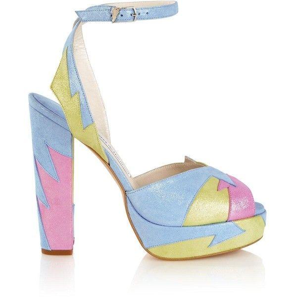 Terry De Havilland Zia Allsorts Platform Sandals ($135) ❤ liked on Polyvore featuring shoes, sandals, heels, blue, high heels sandals, high heeled footwear, platform shoes, terry de havilland and blue high heel shoes