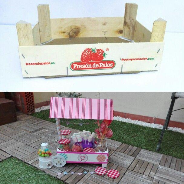 Carrito de chuches, candy bar, reciclar caja de fresa