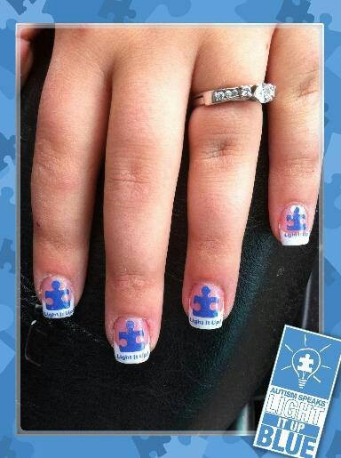 276 best blue nail swatches autism inspired nail art images on without the words and with the puzzle piece on one nail prinsesfo Choice Image