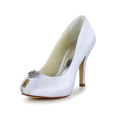 Buen gusto Peep Toe Pumps satén de tacón alto con los zapatos de boda de diamante de imitación (más colores) – USD $ 59.99