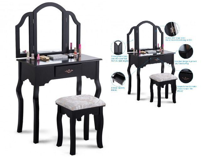 Makeup Vanity Table Set With Mirror And Stool Bedroom Dressing Table Desk Black #MakeupVanityTable