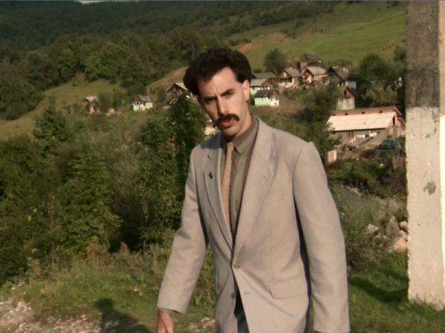 Borat in his home village n Kazakhstan (actually filmed in Romania)