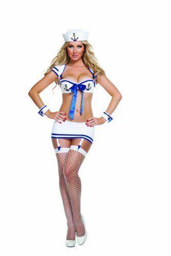 Starline Women's Anchors Away Sexy Sailor Costume Set, White, Large  #Anchors #Away #Costume #Large #Sailor #Sexy #SexyHalloweenCostume #Starline #White #Womens Halloween Spirit