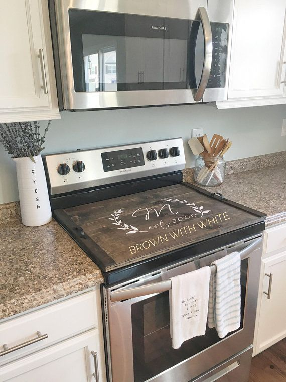 Stove Top Cover Custom Wooden Stove Cover Personalized Stove Cover