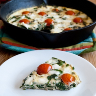 Frittata with Tomatoes, Mozzarella, Basil, and Spinach