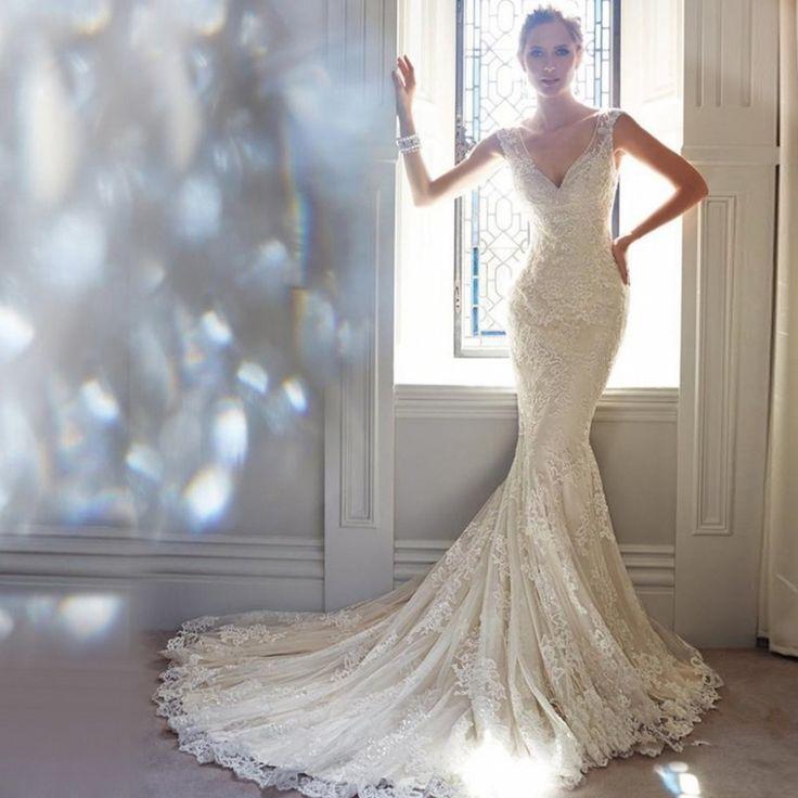 DHG137 robe de mariage Romântico Ocidental Vestidos De Casamento Longo do Trem de Luxo Sexy V Neck Lace Sereia Vestidos de Casamento Do Vintage 2017 em Vestidos de casamento de Casamentos & Eventos no AliExpress.com | Alibaba Group