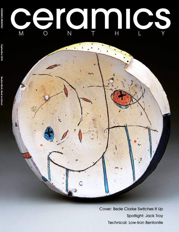 Ceramics Monthly's September 2014 issue, featuring Bede Clarke's work on the cover. The piece is an earthenware bowl with slip, underglaze and glaze, completed in 2013. http://ceramicartsdaily.org/ceramics-monthly/ceramics-monthly-september-2014/