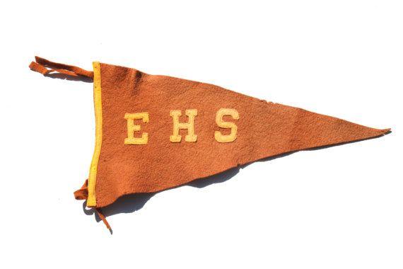 Vintage EHS East High School Pennant from Denver Colorado - Brown Felt Pennant