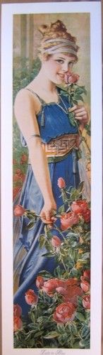 Art Print Lady in Blue Victorian Tall Lady Grecian Vtg Repro Roses Yardlong | eBay