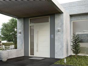Porta d'ingresso con pannelli in vetro SUPREME SD77 by Alumil