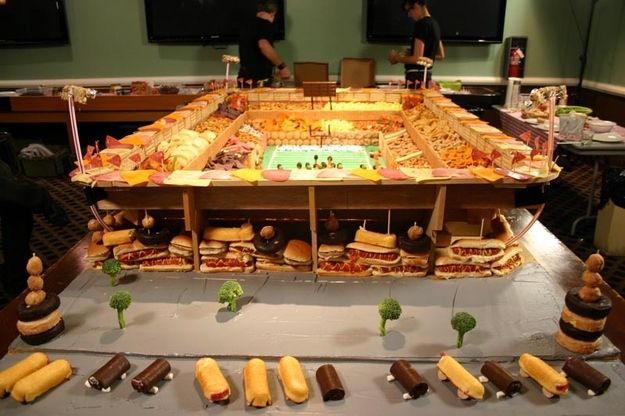 Two-story snackadium. And broccoli trees. | 21 Incredible Football Stadiums Made Of Snacks