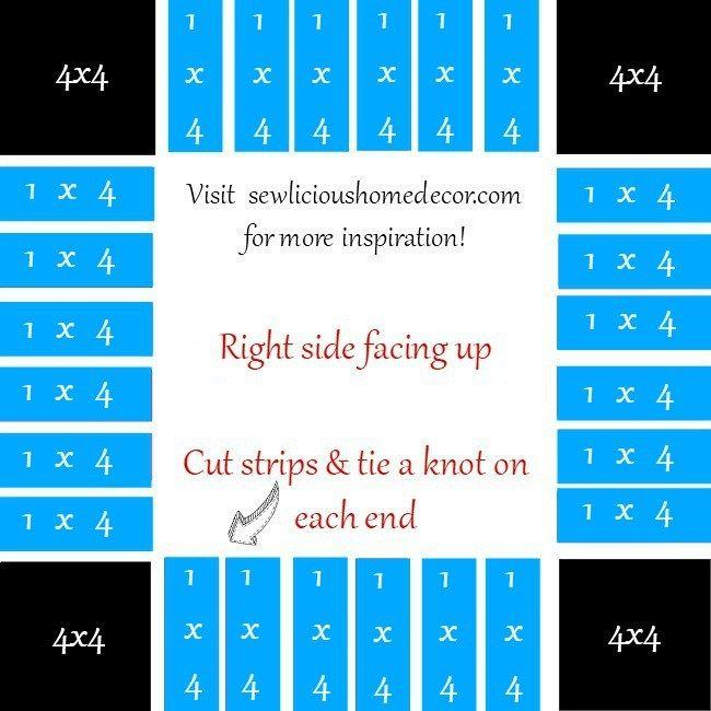 Easy No Sew Blue Blanket Tutorial Instructions sewlicioushomedecor.com