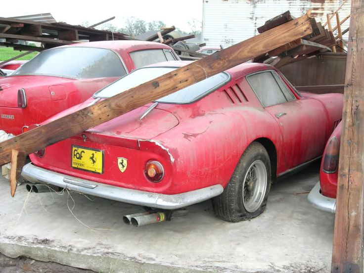 An epic barn find, only discovered after the barn actually fell down onto them housed many classic Ferrari's from road to race cars. Pretty sure this was in Japan.