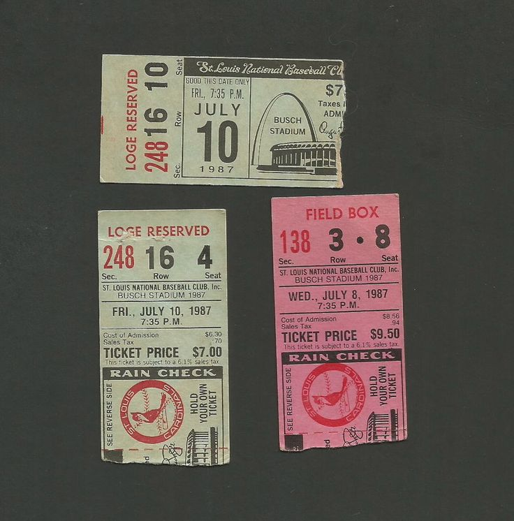 St Louis Cardinals Ticket Stubs July 1987 Old Busch Stadium Redbird on The Bat | eBay