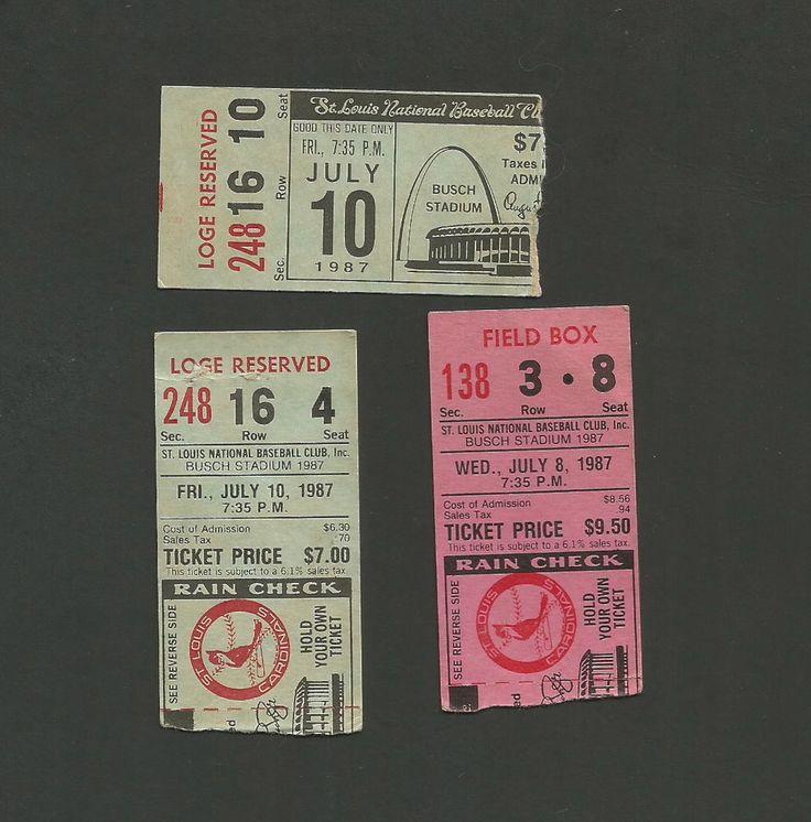 St Louis Cardinals Ticket Stubs July 1987 Old Busch Stadium Redbird on The Bat | eBay