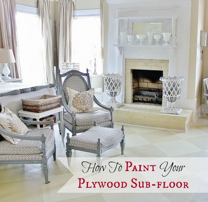 How to pain your plywood sub-floors. Inexpensive flooring idea that turned out fabulous from @Thistlewood Farm